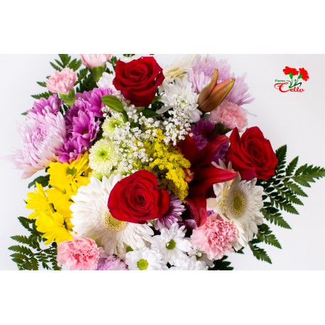 Ramo de Rosas, Gerberas, Liliums Asiáticos, Margaritas y Anastasias