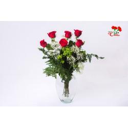 6 Rosas Rojas Tallo Corto